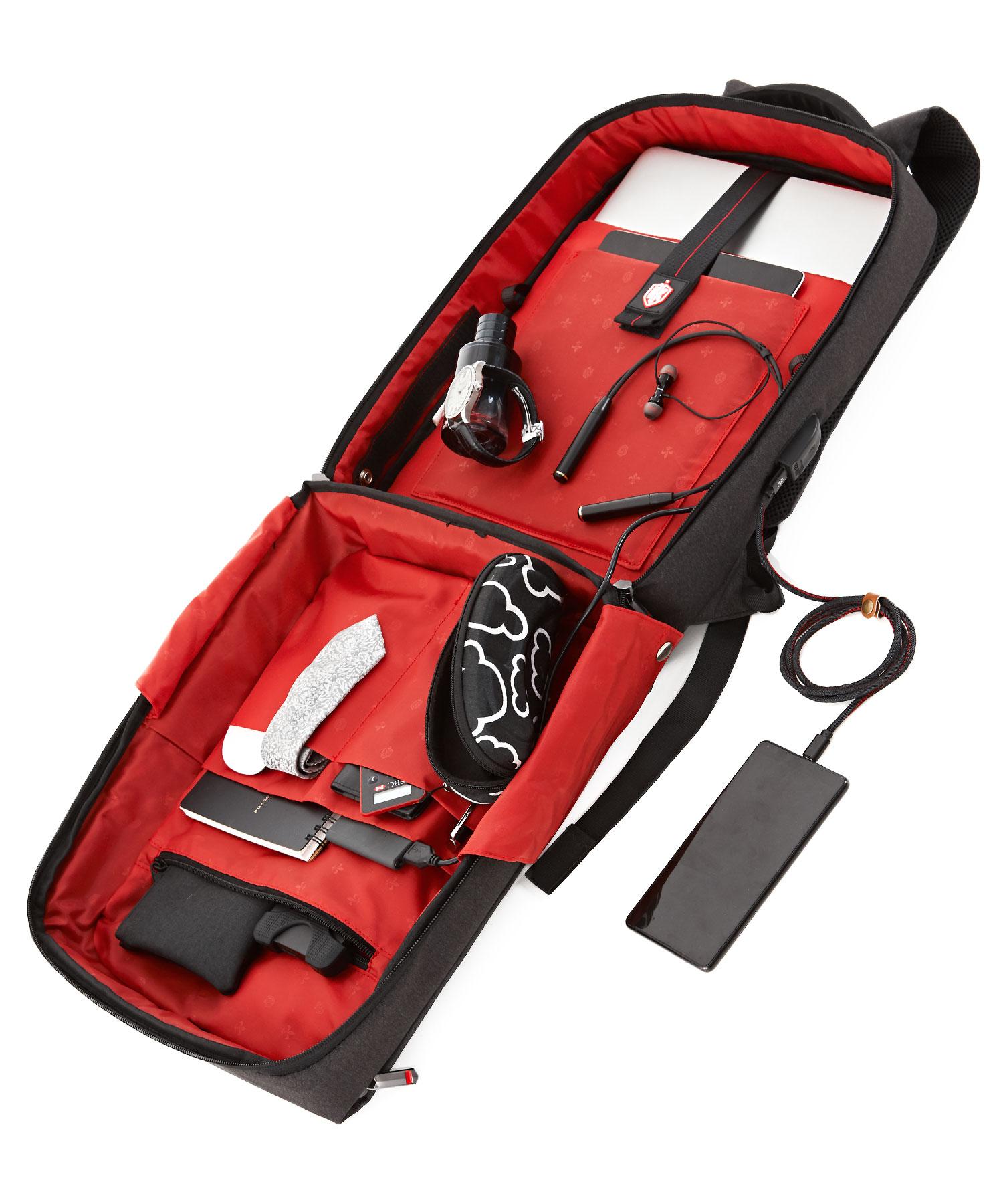 formal backpack full open