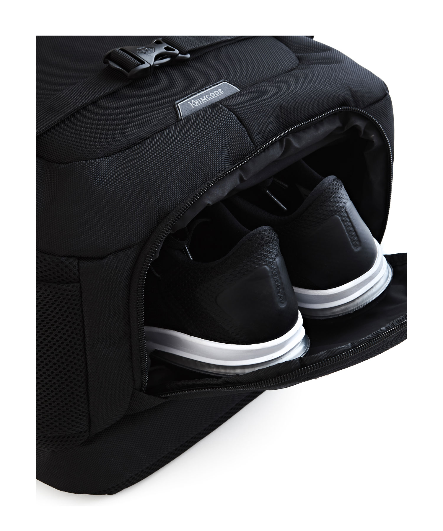 shoe in a krimcode backpack